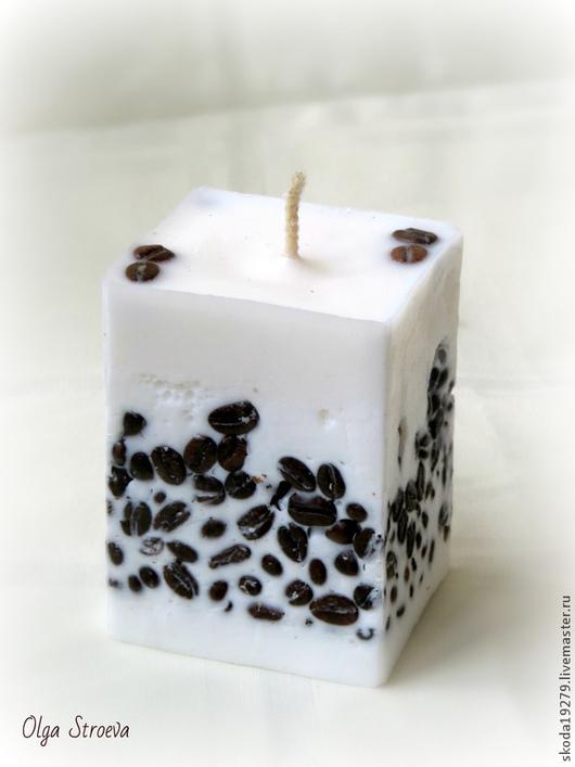 Свечи ручной работы. Ярмарка Мастеров - ручная работа. Купить Кофеманам. Ароматическая свеча с зернами черного кофе.. Handmade. Коричневый