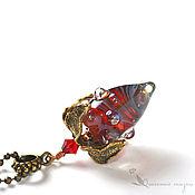 Украшения handmade. Livemaster - original item Pendant Berry fantasy. Raspberry lampwork brass berry. Handmade.
