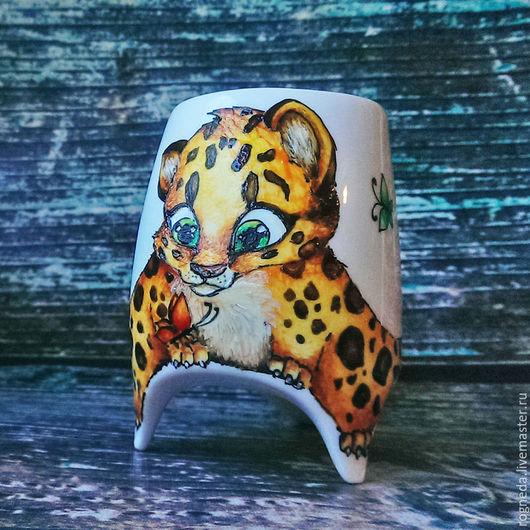 """Кружки и чашки ручной работы. Ярмарка Мастеров - ручная работа. Купить """"Леопард"""" чашка с ножками (0753). Handmade. Комбинированный"""