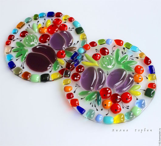 Kitchen handmade. Livemaster - handmade. Buy coasters made of glass, fusing coffee and Tea ceremony.Glass, flowers
