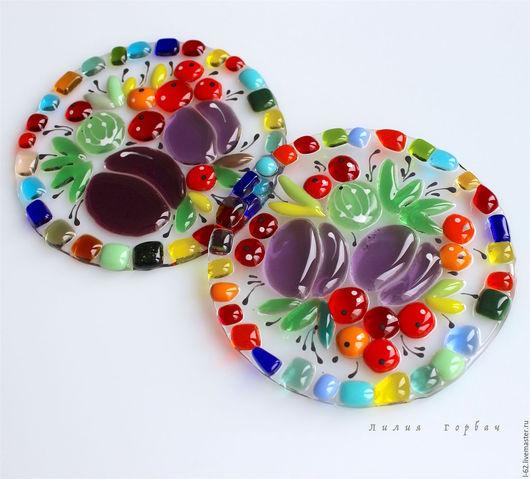 Кухня ручной работы. Ярмарка Мастеров - ручная работа. Купить подставки из стекла, фьюзинг  Чайно-кофейная церемония. Handmade. Стекло