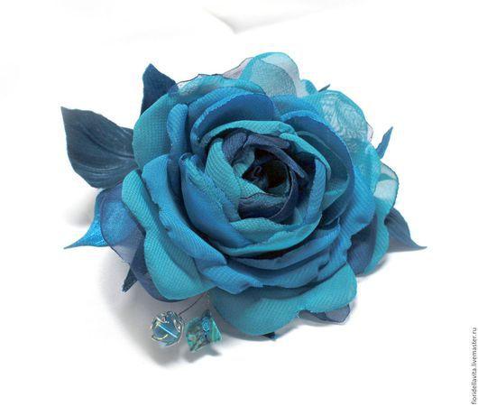 """Цветы ручной работы. Ярмарка Мастеров - ручная работа. Купить Шифоновая роза """"Тиффани"""". Цветы из ткани.. Handmade. Роза-брошь"""