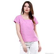 Одежда handmade. Livemaster - original item Linen blouse with short sleeves color sherbet. Handmade.
