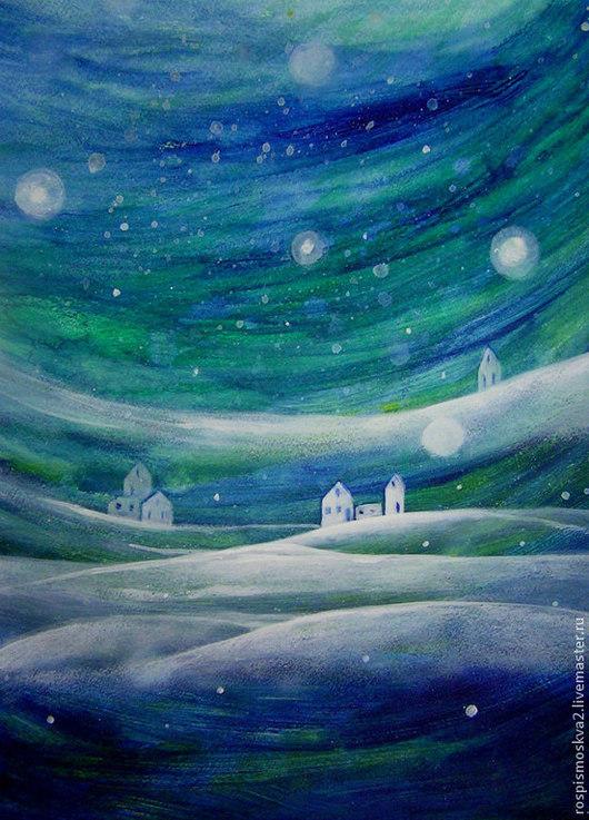 Пейзаж ручной работы. Ярмарка Мастеров - ручная работа. Купить Картина   Ночь  и  дома  бумага    акрил. Handmade. Картина
