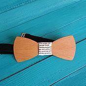Аксессуары handmade. Livemaster - original item Wooden tie Newspaper / beech tree, white butterfly tie. Handmade.