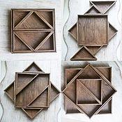 Посуда ручной работы. Ярмарка Мастеров - ручная работа Комплект подносов «Суаре» (квадрат), тонированный дуб. Handmade.