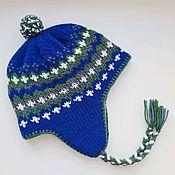 Аксессуары handmade. Livemaster - original item Woolen hat with earflaps on fleece with a POM POM Hugge in the Scandinavian style. Handmade.