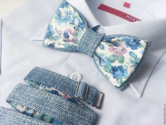 """Галстуки, бабочки ручной работы. Ярмарка Мастеров - ручная работа. Купить Бабочка-галстук """"Blue sky"""". Handmade. Бабочка на шею"""