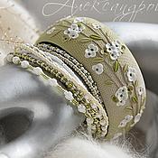 Комплект браслетов ручной работы. Ярмарка Мастеров - ручная работа Комплект браслетов с цветами из полимерной глины зелёный. Handmade.