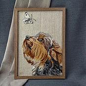 Картины и панно handmade. Livemaster - original item Yorkshire Terrier panel painting for interior.. Handmade.