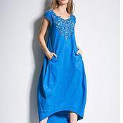 Одежда ручной работы. Ярмарка Мастеров - ручная работа Синее Вышитое льняное платье Вышиванка Льняное Бохо платье. Handmade.