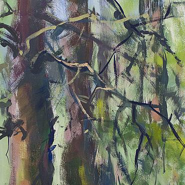 Картины и панно ручной работы. Ярмарка Мастеров - ручная работа «В лесу» Картина гуашью пейзаж лето. Handmade.