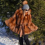 Одежда handmade. Livemaster - original item Poncho Fox fur - moth. Hooded.. Handmade.