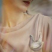 Украшения handmade. Livemaster - original item A beaded brooch Bird-Lira. Handmade.