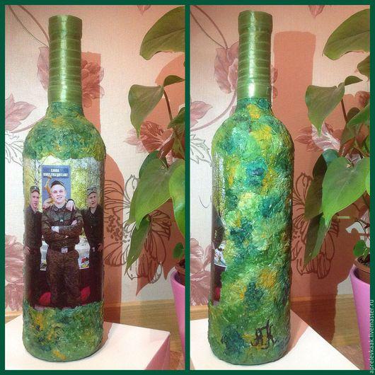 Декоративная бутылка вина для мужчины. Техника ,,Декупаж ,,