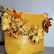 Сумки и аксессуары handmade. Livemaster - original item Women`s leather Shoulder bag hobo small Chrysanthemum yellow. Handmade.