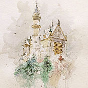 Картины и панно handmade. Livemaster - original item Painting watercolor Winter castle ( beige, gray, emerald ). Handmade.