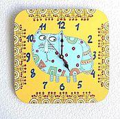 Часы ручной работы. Ярмарка Мастеров - ручная работа Часы детские настенные Кот - голубчик, часы ручной работы. Handmade.