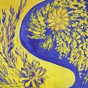 Картины и панно handmade. Livemaster - original item Blue, and yellow.. Handmade.