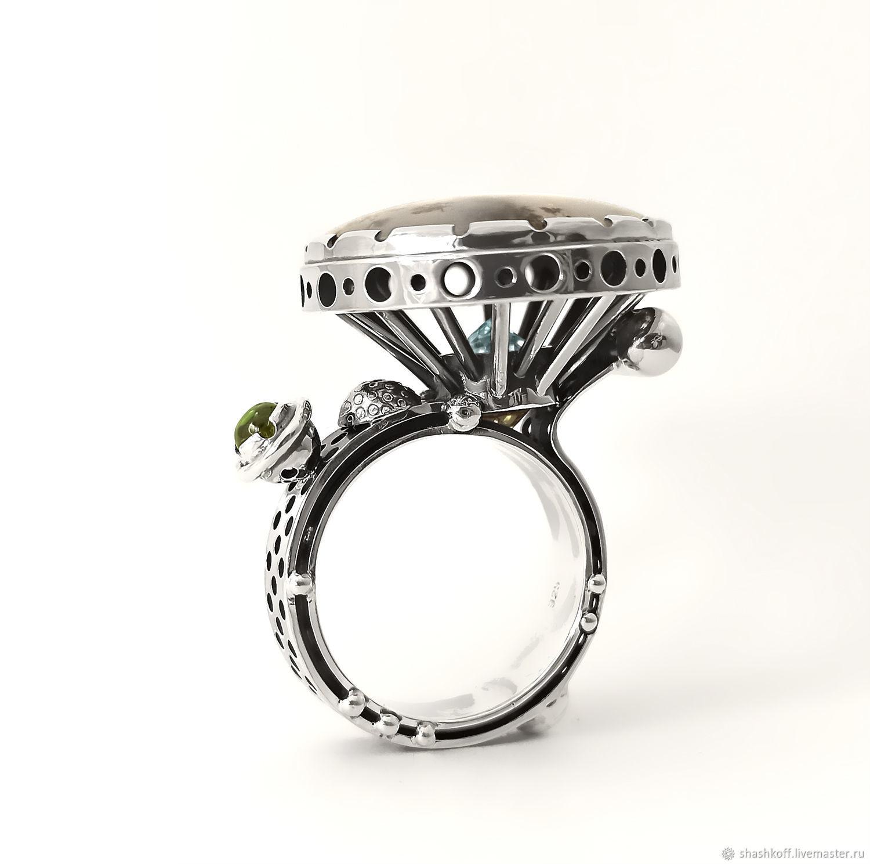 """Кольцо с моховым агатом  """"Celestial chariot"""", Кольца, Санкт-Петербург,  Фото №1"""