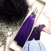 Серьги-кисти Royal Violette сиреневые фиолетовые шелк фианиты родий
