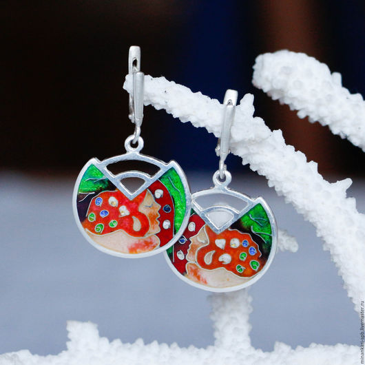 """Серьги ручной работы. Ярмарка Мастеров - ручная работа. Купить Серьги Климт """"Water Snakes II green"""" из серебра с эмалью. Минанкари. Handmade."""
