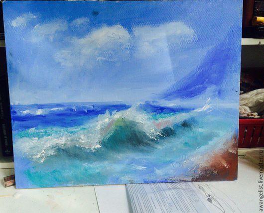 Пейзаж ручной работы. Ярмарка Мастеров - ручная работа. Купить Нежность волн. Handmade. Голубой, море живопись, природа