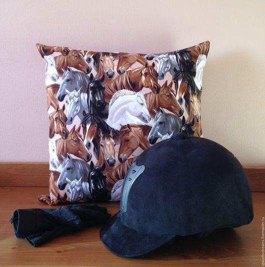 Текстиль, ковры ручной работы. Ярмарка Мастеров - ручная работа. Купить Декоративная подушка Лошади хлопок. Handmade. Коричневый, лошадь