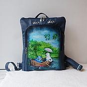 Сумки и аксессуары handmade. Livemaster - original item Leather backpack with paintings by Rina Zenyuk.Custom made for Evgenia.. Handmade.