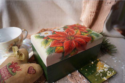 """Кухня ручной работы. Ярмарка Мастеров - ручная работа. Купить Шкатулка для чайных пакетиков """"Пуансетия"""". Handmade. Зеленый, кухня"""