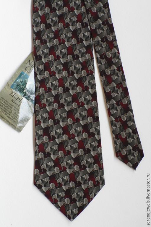 Винтажная одежда и аксессуары. Ярмарка Мастеров - ручная работа. Купить Шелковый галстук №11 The Nature Conservancy. Handmade. Бордовый
