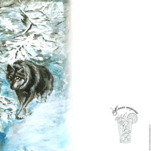 """Декоративная посуда ручной работы. Ярмарка Мастеров - ручная работа. Купить Бутылка декоративная """"Волки. Зимняя охота"""" снег, серый, белый, голубой. Handmade."""