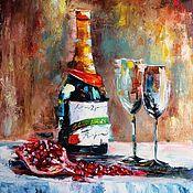 Картины и панно ручной работы. Ярмарка Мастеров - ручная работа Картина маслом Шампанское и гранат. Handmade.