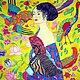 Картина  Дама с веером по мотивам Г.Климта. Написана в ярких, жизнерадостных тонах. Для уверенных женщин, хозяек своего дома и своей жизни. Прекрасный подарок для начальницы. Или для себя любимой. Со