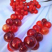 Украшения manualidades. Livemaster - hecho a mano Collar rojo de las cuentas. El mundillo rojo .Lempvork. Handmade.