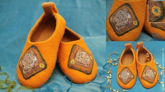 Обувь ручной работы. Ярмарка Мастеров - ручная работа. Купить Солнечная фантазия. Handmade. Желтый, женские тапочки, оригинальный подарок