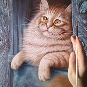 Картины и панно handmade. Livemaster - original item Oil painting March cat. Handmade.