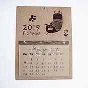 """Календари ручной работы. Ярмарка Мастеров - ручная работа Календарь новогодний """"Pig Year"""" 2019. Handmade."""