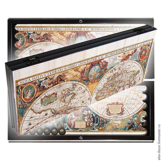 Настольные игры ручной работы. Ярмарка Мастеров - ручная работа. Купить Эксклюзивные нарды OLD MAP - 7 (серия S). Handmade.