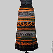 Одежда ручной работы. Ярмарка Мастеров - ручная работа Юбка коричневая с оранжевым. Handmade.