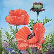 Картины и панно handmade. Livemaster - original item Watercolor Blazing poppies painting poppies. Handmade.