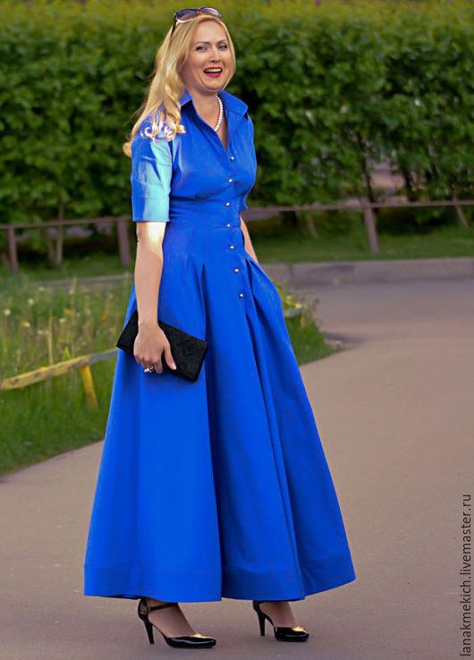 """Платья ручной работы. Ярмарка Мастеров - ручная работа. Купить Платье- рубашка с  длинной пышной юбкой """"Синяя птица """". Handmade."""
