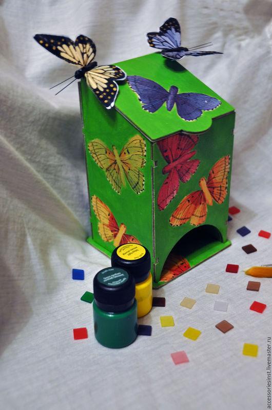 """Кухня ручной работы. Ярмарка Мастеров - ручная работа. Купить Чайный домик """"Бабочки"""". Handmade. Ярко-зелёный, для кухни, бабочки"""