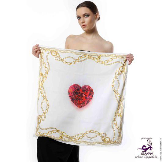 Купить платок шелковый с авторским принтом `Рубиновое Сердце в золотых цепях`. Дизайнер Анна Сердюкова (Дом Моды SEANNA).  Размер платка - 65х65 см.  Цена - 2400 руб.