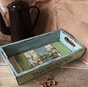"""Для дома и интерьера ручной работы. Ярмарка Мастеров - ручная работа """"Прохладное утро в Сен-Поль-де-Ванс"""" поднос. Handmade."""