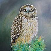 Pictures handmade. Livemaster - original item Oil painting Owl. Handmade.