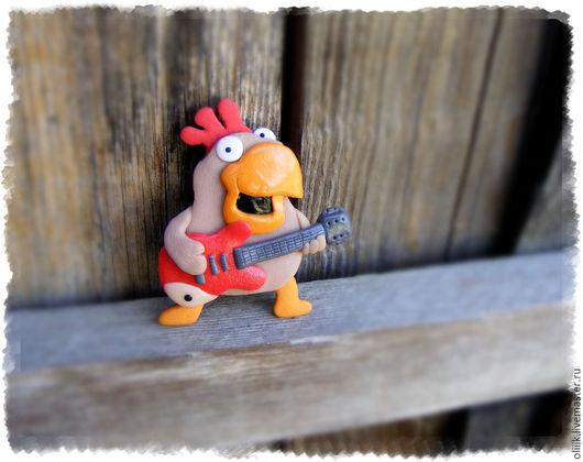 """Магниты ручной работы. Ярмарка Мастеров - ручная работа. Купить Брошь """"Петушок с гитарой"""". Handmade. Комбинированный, магнит петух"""