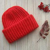 Аксессуары ручной работы. Ярмарка Мастеров - ручная работа Красная мохеровая вязаная шапка. Handmade.
