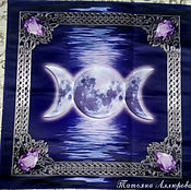 Ritual tablecloth handmade. Livemaster - original item Altar cloth for divination THREE MOONS, dense satin 62h62 cm. Handmade.