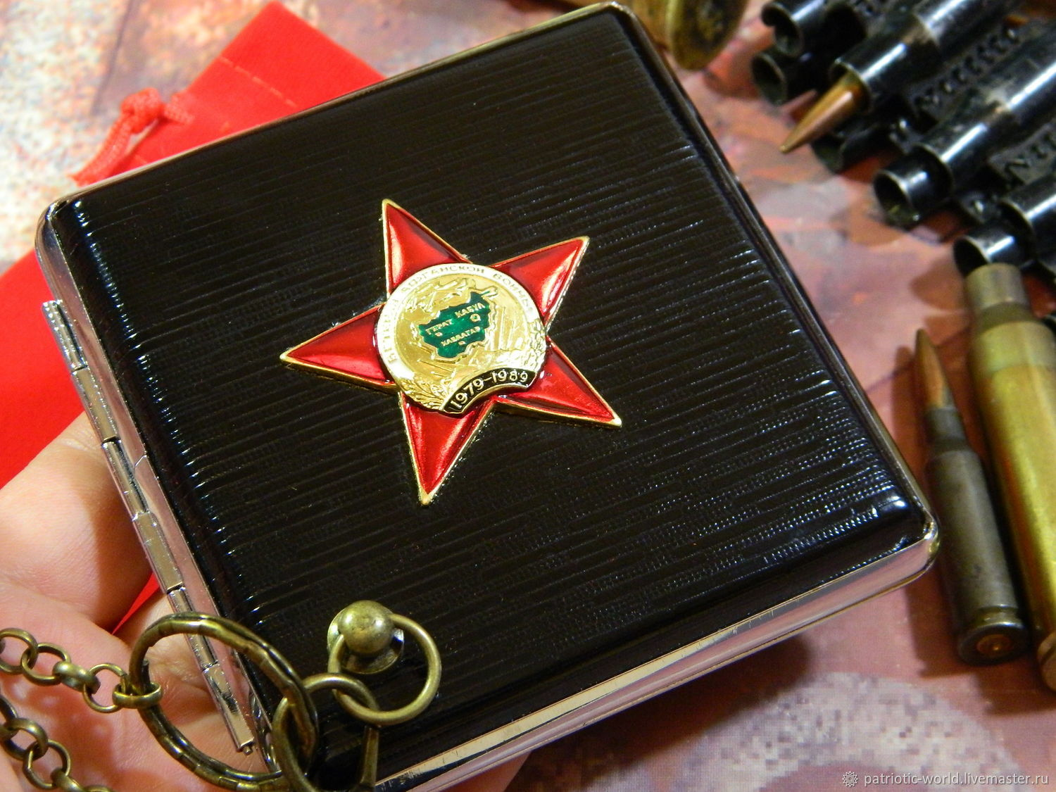 Cigarette case for 20 cigarettes with symbols of the USSR ' veteran of AFGHANISTAN', Cigarette cases, Saratov,  Фото №1